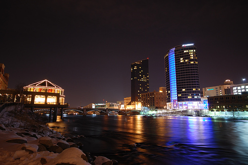 Grand Rapids Michigan Downtown at Night